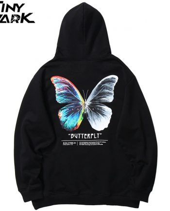 Men Hip Hop Sweatshirt Graphic Hoodie Butterfly Streetwear