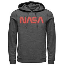 Men's NASA Simple Red Text Logo Pullover Hoodie