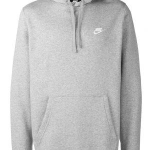 Nike Logo Embroidered Grey Hoodie