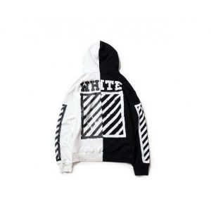 Off White Two Panel Zip Up Hoodies