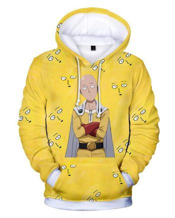 One Punch Man Hero 3D Anime Yellow Hoodies