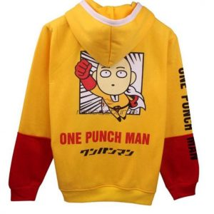 One Punch Man Saitama Cosplay Yellow&Red Oppai Hoodie