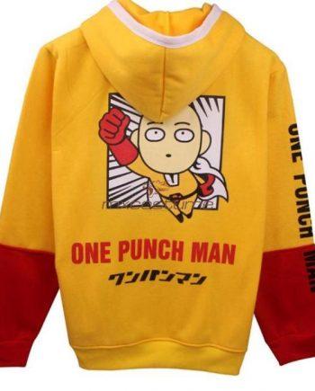 One Punch Man Saitama Cosplay Yellow & Red Hoodie