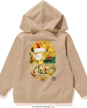 POPEYE X BAPA Comic Zip Brown Hoodie Kids(Back)