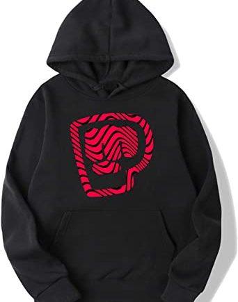 Pewdiepie Custom Wavy Logo Black and Red Hoodie