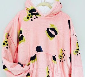 Ultra Soft & Comfortable Pink Blanket Hoodie(front)