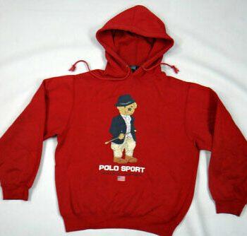 Polo Teddy Bear Printed Equestrian Red Hoodie