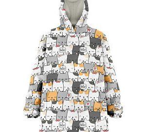 Blanket Kawaii Cat Oversize Hoodie (front)