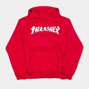 Red and teal thrasher hoodie