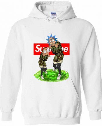 Rick And Morty Supreme White Hoodies