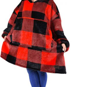 Sherpa Blanket Soft & Warm Red Plaid Hoodie (front)