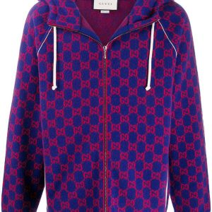 blue Gucci jacquard zip hoodie