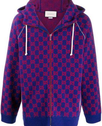 Men's Gucci jacquard GG Zip-Up Blue Hoodie(front)