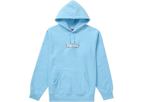 Supreme Bandana Box Logo Hooded Sweatshirt (Light Blue)(front)