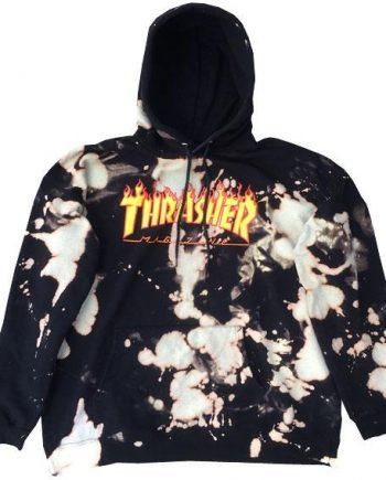 Thrasher Flame Logo Bleached Hoodie