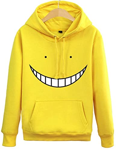 Anime Smiley Face Teeth Pullover Cotton Yellow Hoodie(front)