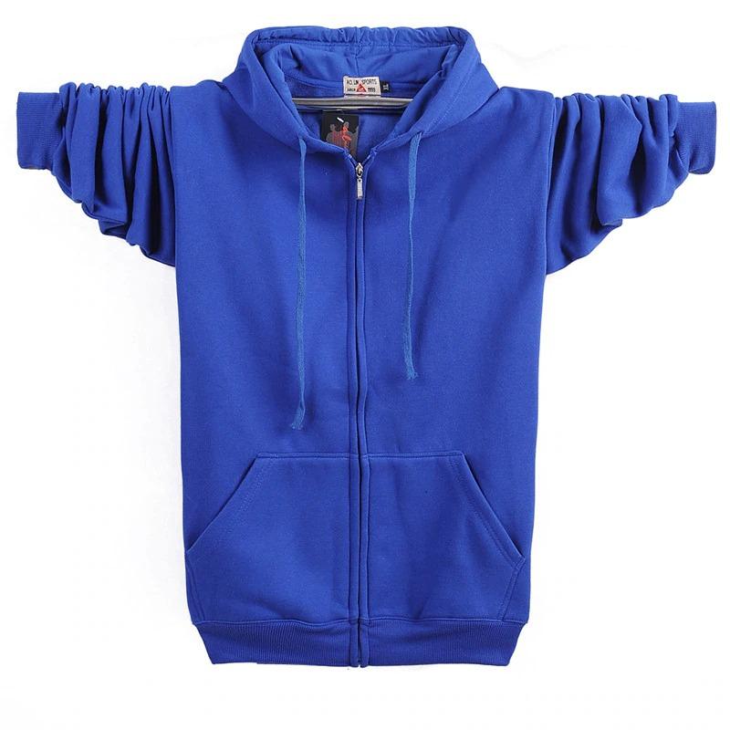 Casual Men's Velvet Fleece Zipper Blue Hoodie (front)