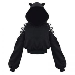 -cat-ears-lace-up-short-hoodie-black