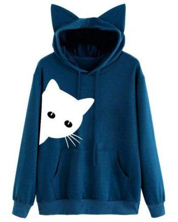 Cat Ear Harajuku Blue Hoodie
