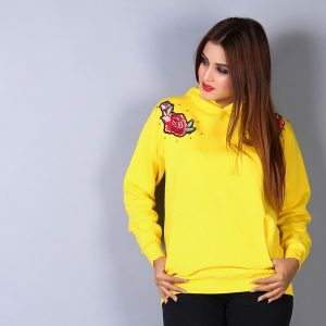Yellow Floral Embroidered Hoodie
