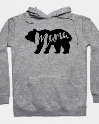 Mama Bear Designed Grey Hoodie