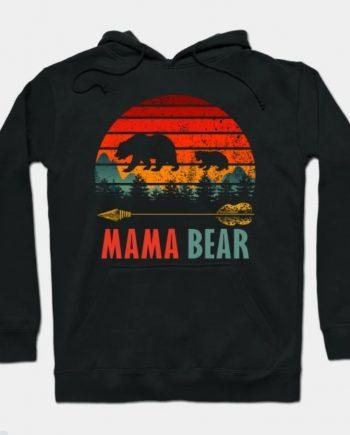 Mama Bear Retro Vintage Black Hoodie