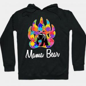 Mama Bear Autism Black Hoodie