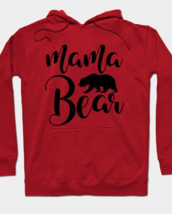 Mama Bear Fleece Long Sleeve Red Hoodie