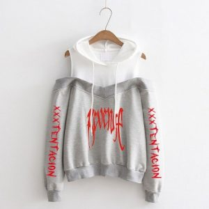 Hoodie Sweatshirt Rip Bone xxxtentacion Revenge Sweat off-shouder Hoodies Women