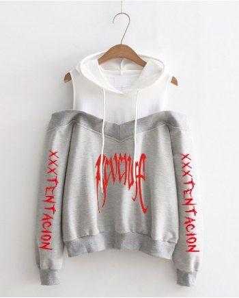 Rip Bone Revenge Sweater Off-Shoulder Hoodie