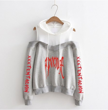 Hoodie Sweatshirt Rip Bone xxxtentacion Revenge Sweat off-shouder Hoodies Women