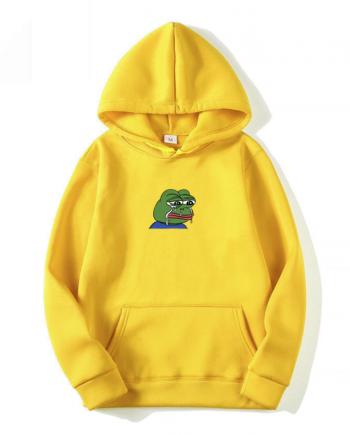 Man Woman Pullover Sweatshirt Funny Graffiti Print Sad frog Hoodies