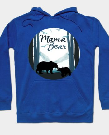 Mama Bear Baby Cub in the Mountains Blue Hoodie