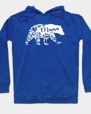 Mama Bear Floral Pullover Fleece Blue Hoodie(front)