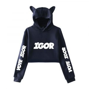 Tyler The Creator Girls Casual Cat Cropped Hoodie