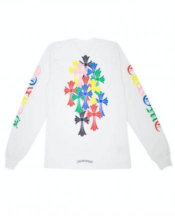 Chrome Hearts Multi Color Cross Cemetery Sweatshirt - White (Back)